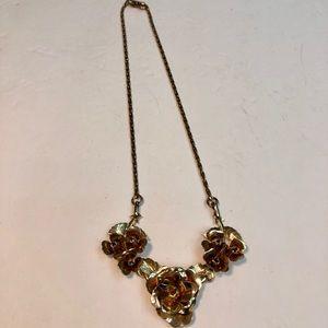 Vintage flower gold chain necklace